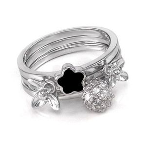 Sterling Silver Trio Stackable Fashion Ring Set 7